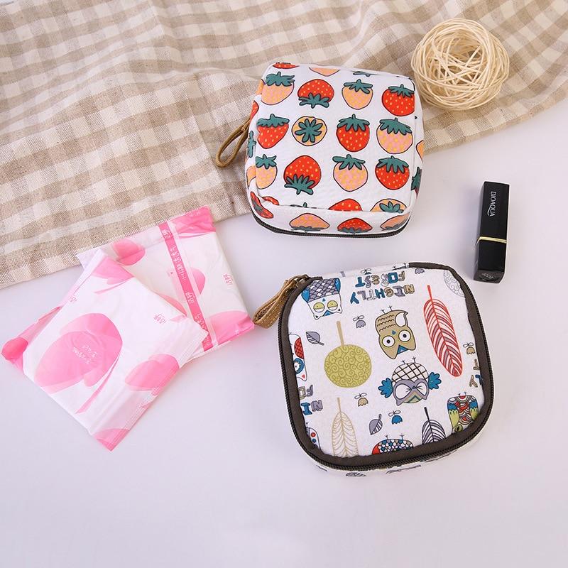 Cartoon Animals Sanitary Napkin Bag Purse Cotton Linen Protable Cosmetic Makeup Storage Bags Travel Napkins Towel Wallet Pocket