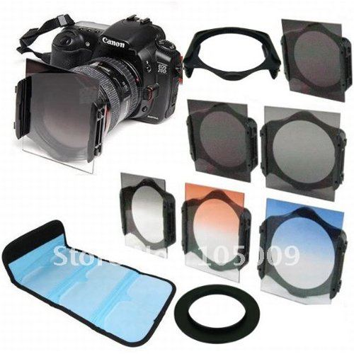 49 52 55 58 62 67 72 77 82 mm ring+Square Graduated Orange Blue grey+ND2/ND4/ND8 lens filter for Cokin P series Adapter цена