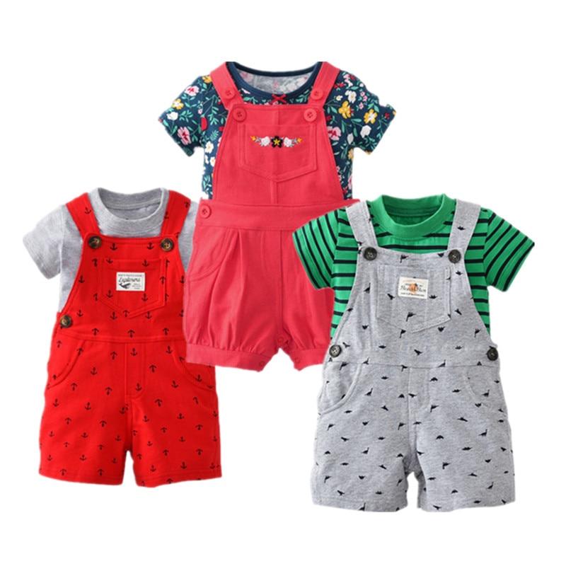 2017 bebes baby girl clothes sets newborn baby kids summer shorts clothing boy T-shirt Belt pats  2pcs drop shipping Wave point