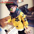 New Autumn Korean Style Boys Girls Children Long Sleeve O-neck Side Zipper Sweater Stars Pattern Pullover Sweater for Boys Girls