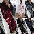 2017 Nueva Otoño Invierno 2 de Dos Piezas de chándal de terciopelo mujeres ropa set Traje de las mujeres conjunto conjunto de Lana de terciopelo Suave d1151