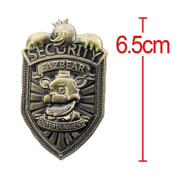 Hot New Game 5 Five Nights At Freddys  Metal 6.5cm  Fazbear Security Badge FNAF Figure Pendant