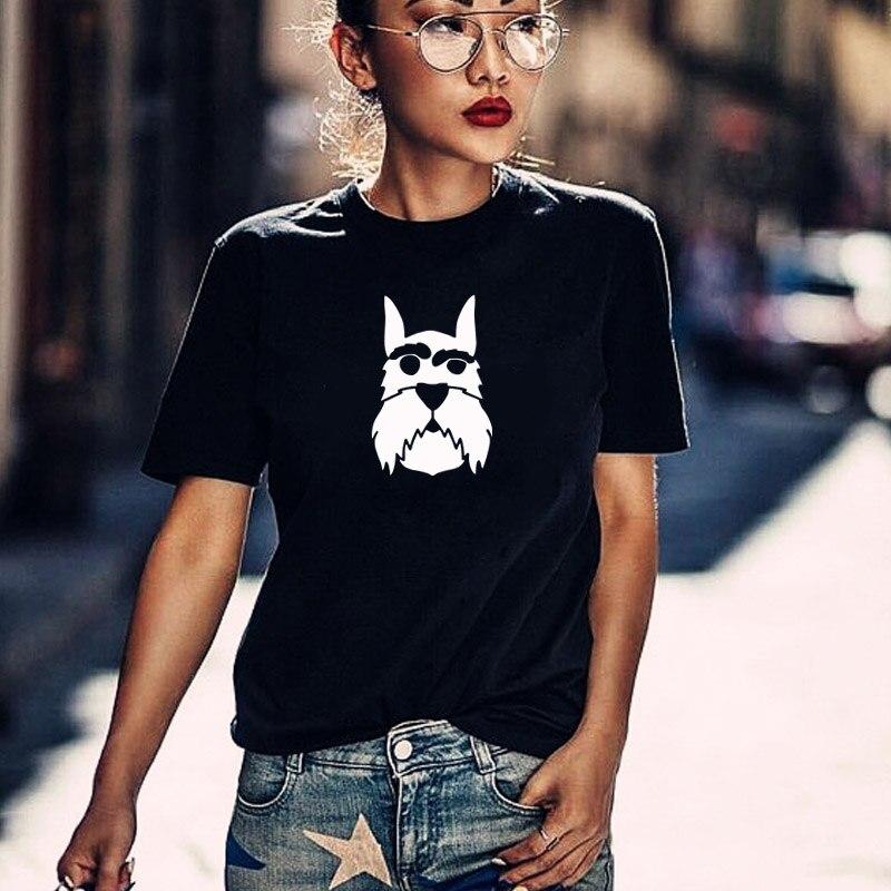 Schnauzer darstellung T hemd hund welpen tier pet kennel nette geschenk tumblr hipster instagram Graphic Tees sommer tops drop schiff