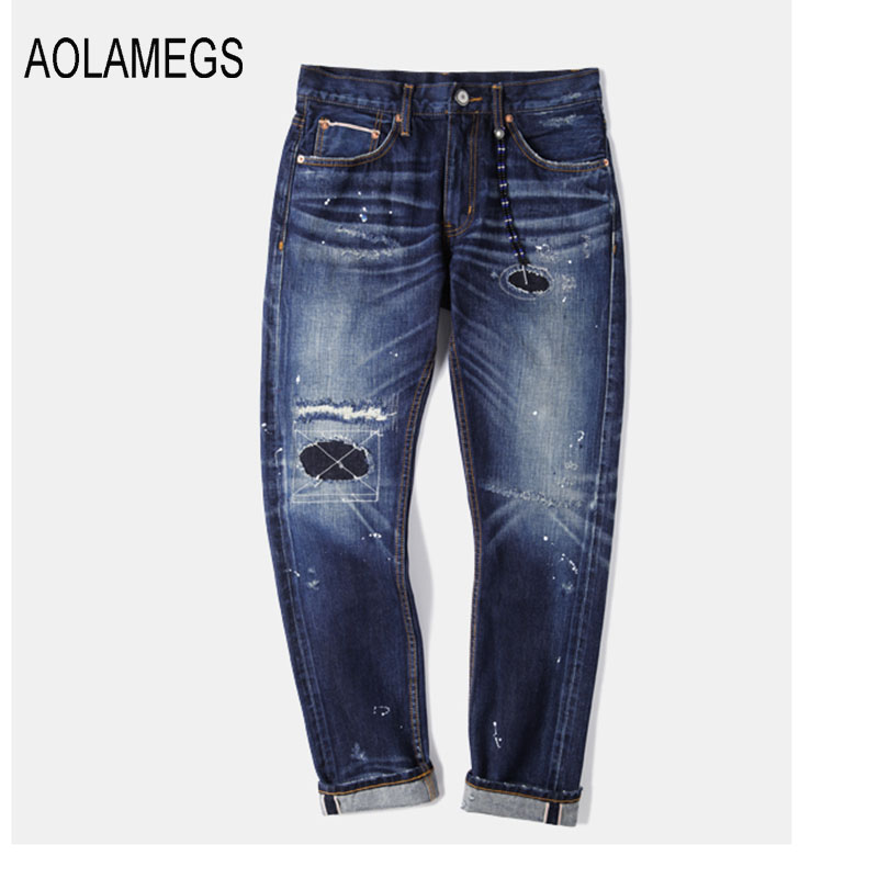 Aolamegs Jeans Men Fashion Design Hole Patch Jeans Straight Wash Denim Trousers 2016 Top Quality Slim Fit Denim Blue Streetwear denim overalls male suspenders front pockets men s ripped jeans casual hole blue bib jeans boyfriend jeans jumpsuit or04