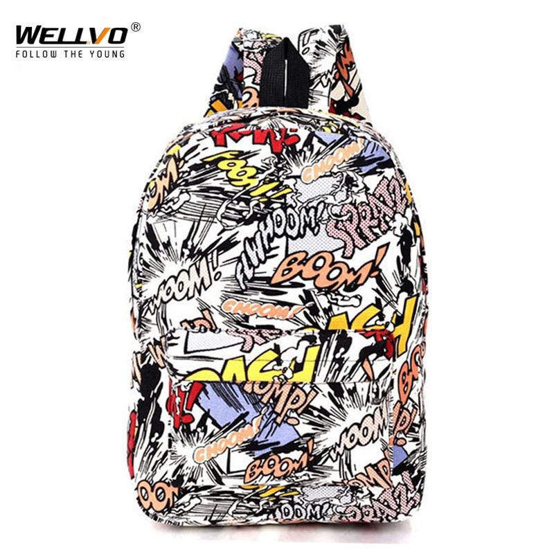 Graffiti mochila de lona de los estudiantes de la Escuela de bolsa para chicas adolescentes niños mochilas bolsas de impresión de dibujos animados de mochila de la calle Escolar 1065