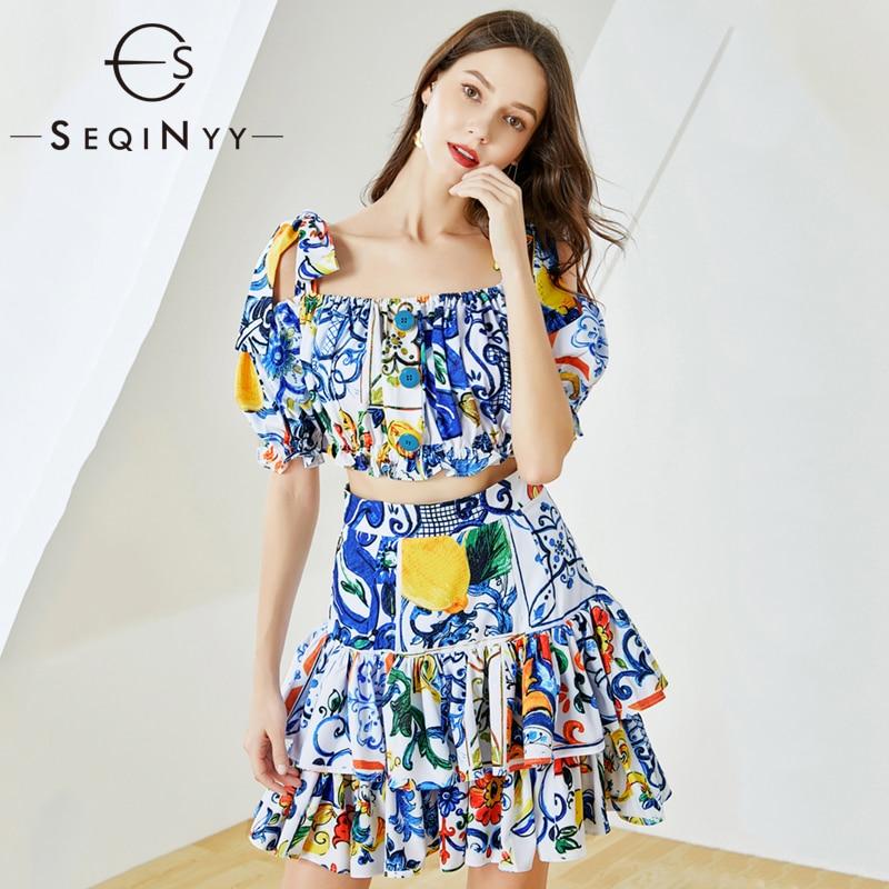 SEQINYY Summer Set 2020 Summer New Fashion Design Short Elastic Top + Mini Ruffles Cascading Skirt Blue Flowers Print Suit Women