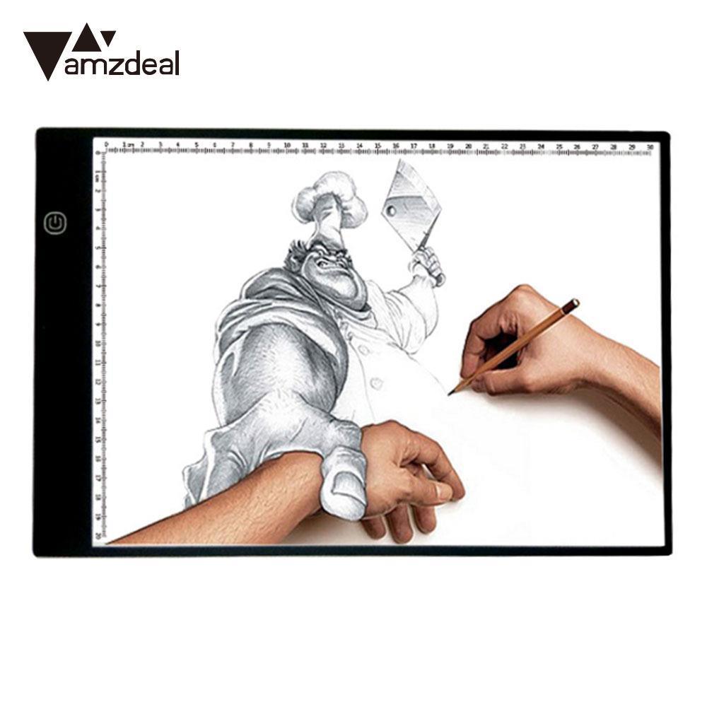 AMZDEAL 2017 Nouveau Portable USB Alimenté Ultra-mince A4 LED Planche à Dessin Pochoir 3 Vitesse de Variation Artiste Peinture Dessin porte-document