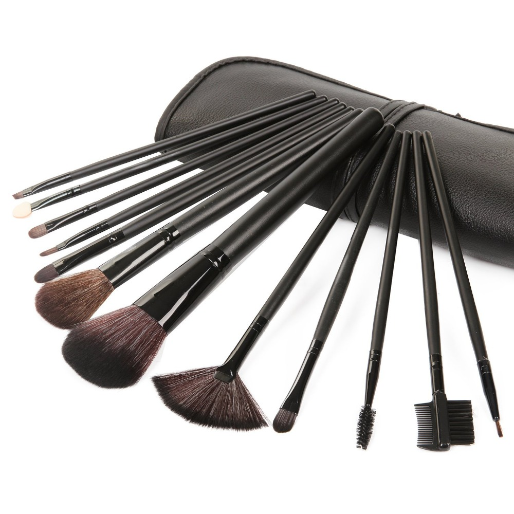 LAVEN 12pcs Makeup Brush Set Natural/Synthetic Soft Nylon with Wooden Handle Roll-up Drawstring Bag M0932