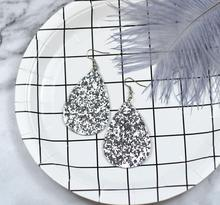Trendy Sequin Big Water droplets shape Dangle Earrings for Women Love Jewelry Chic Silver Color Earing Long Love Jewellery pair of chic lipstick shape earrings for women