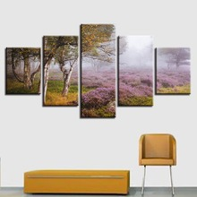 Modular Canvas Paintings Wall Art 5 Pieces Lavender Flowers And Trees Natural Scenery Pictures Living Room Decoration HD Prints