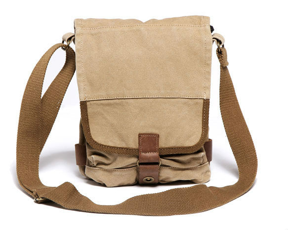 1585b481cc35 Thick canvas + genuine leather Sling Bag Men s Messenger Shoulder Bag  Unisex leisure bag men bag 2404 khaki