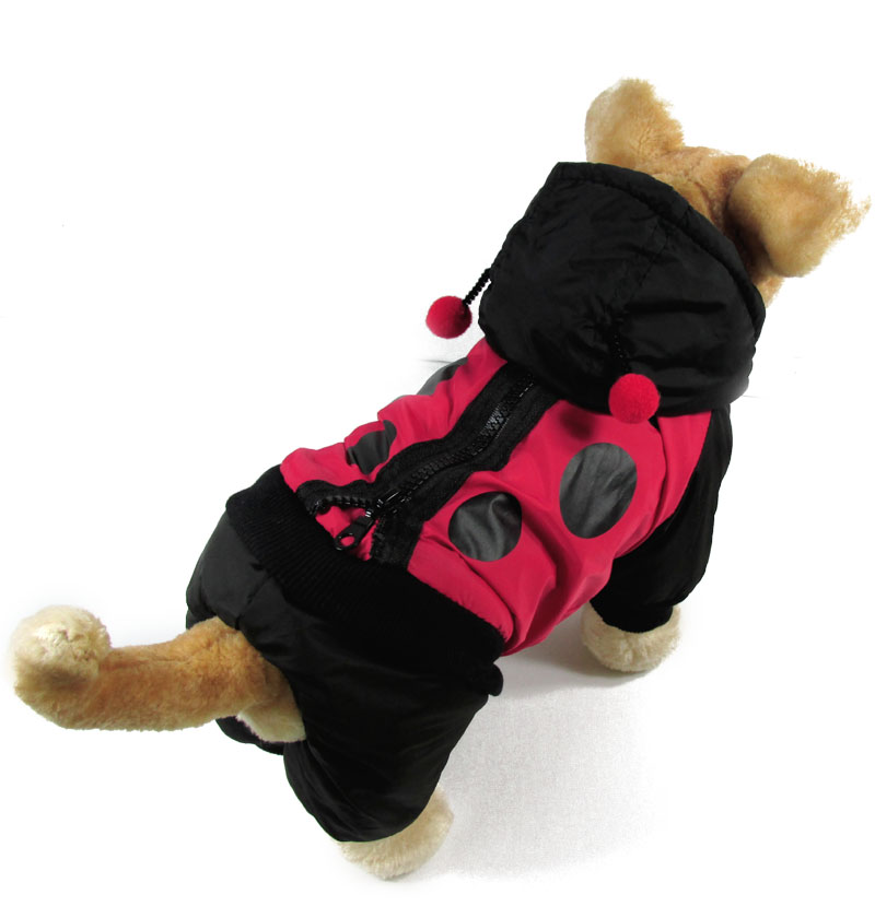 Black Red Dog Clothing Autumn Winter 3D Ladybird Pet Dog Dust Coat