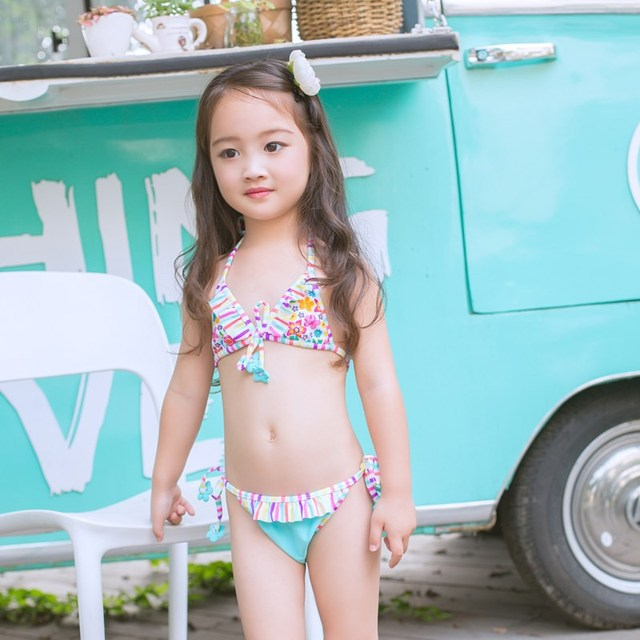 ff87c56a5959c Children Swimwear Kids Summer 2pcs Swimsuits Girls Bikini Set Beach Wear  Swimsuit Tankini Halter Biquini Contrast Color