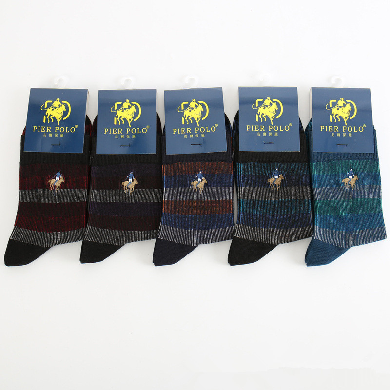 PIER POLO 5 pairs Men Socks Embroidery Winter Man Socks Cotton High Quality Sheer Mens Dress Socks Calcetines Hombre Sox