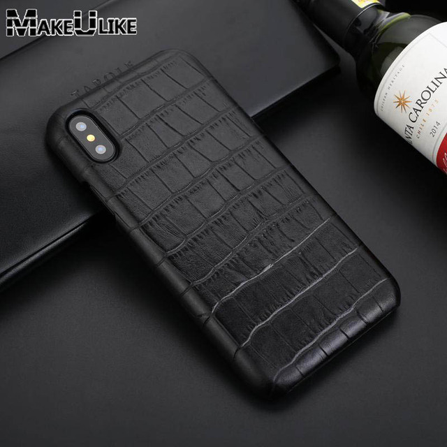 best service fa1a9 50c3a US $9.34 15% OFF|MAKEULIKE Genuine Leather Back Case For iPhone X Cover  Luxury Alligator Phone Bags Cases For iPhone X iPhone 10 Back Case-in  Fitted ...