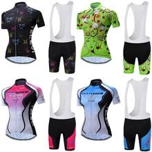 Ropa de ciclo de las mujeres de manga corta Skinsuit establece 2018 Ropa de la bici de verano Señora bicicleta Jersey Maillot Ciclismo Bib Shorts Kits
