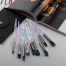 FLD 10Pcs Eye Brush Mini Diamond Makeup Brush Set E