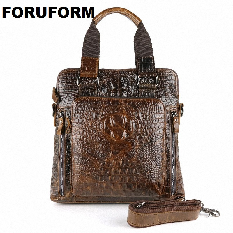 New Fashion Men Handbags Guarantee 100% Men Genuine Leather Messenger Bag Crocodile Pattern Men Business Bags LI-862 скатерть les gobelins feuilles beiges круглая диаметр 160 см