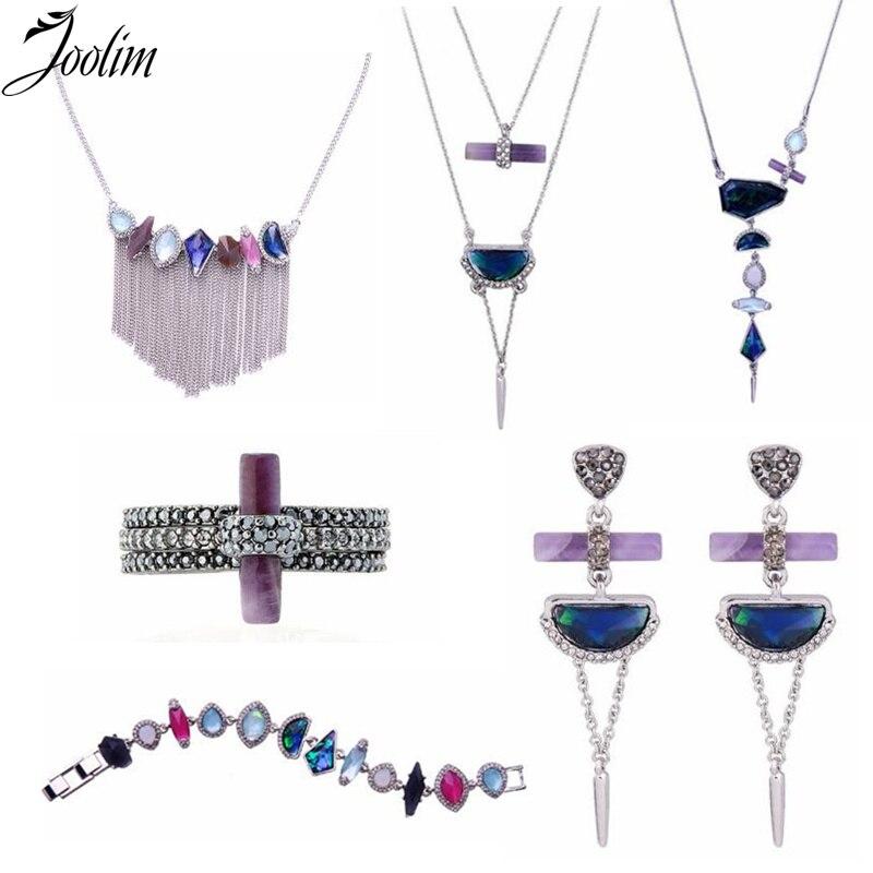 JOOLIM Jewelry /Geo Cut Natrual Stone Necklace Bracelet Earring Set Jewelry Set