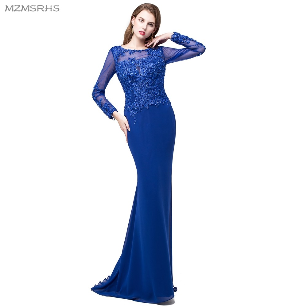 MZMSRHS Unique Designer Royal Blue Prom Dresses 2018 Mermaid Long - Vestidos para ocasiones especiales