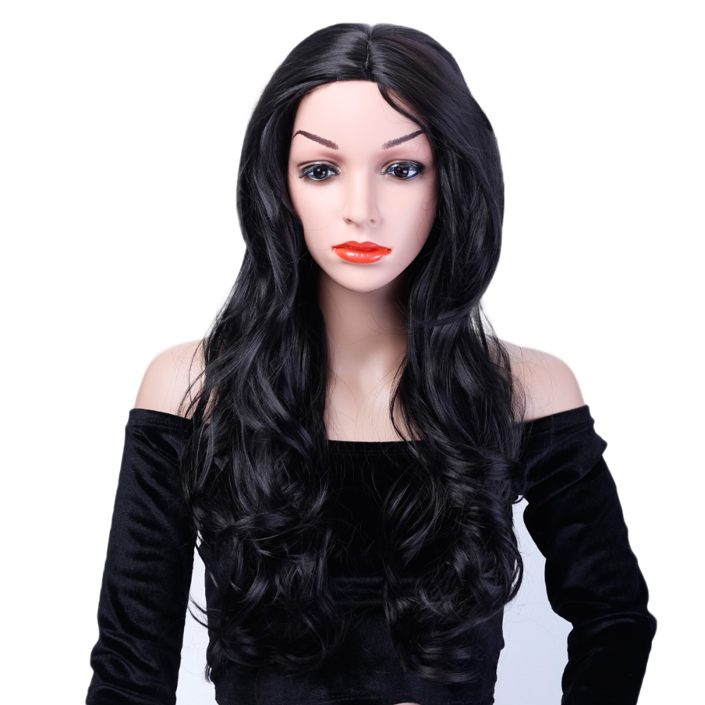 AOSIWIG Long Curly Wig Synthetic Heat Resistant Middle Part Line Carnival Hair Costume Cos-play Halloween Party Salon Hair
