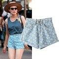 Verano de europa y américa Celebrity Style grabados de cintura Jeans Shorts WDK13023