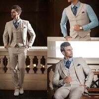 Men Suits For Wedding 2018 Beige Ivory Tuxedo Men Suit Formal Slim Fit Blazer Casual Custom Business 3 Piece Terno Lpm