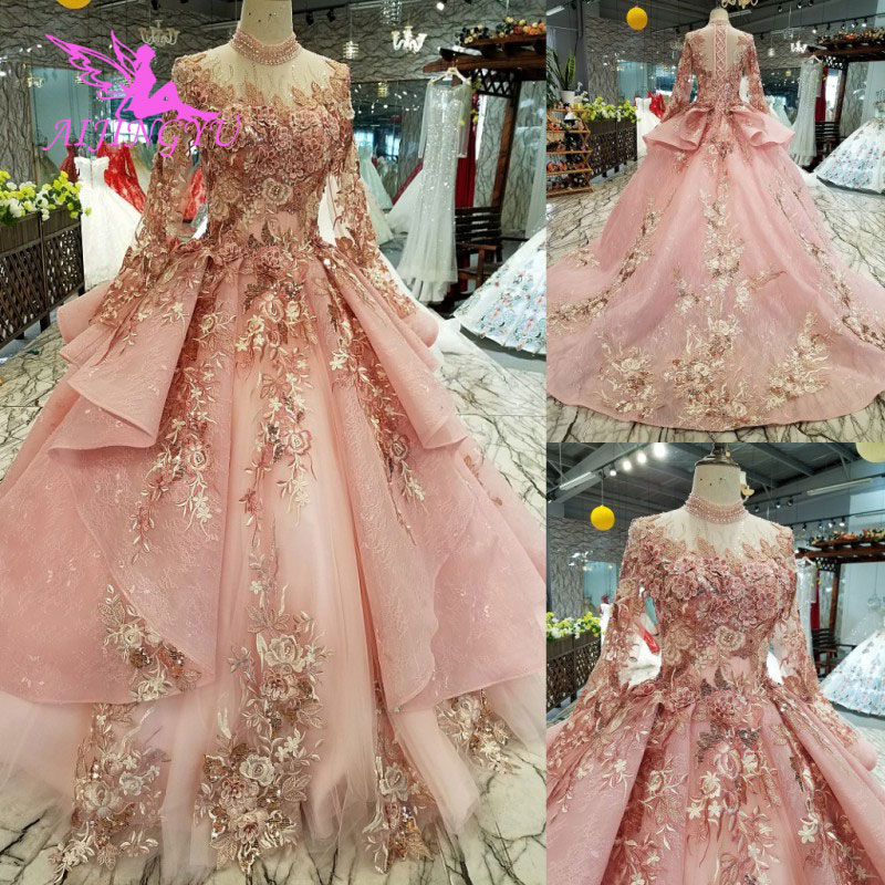 AIJINGYU Ivory Lace Dress Tulle Bridal Gown Long Frocks Store Vintage Korean Modest Gowns Wedding BoutiquesWedding Dresses   -