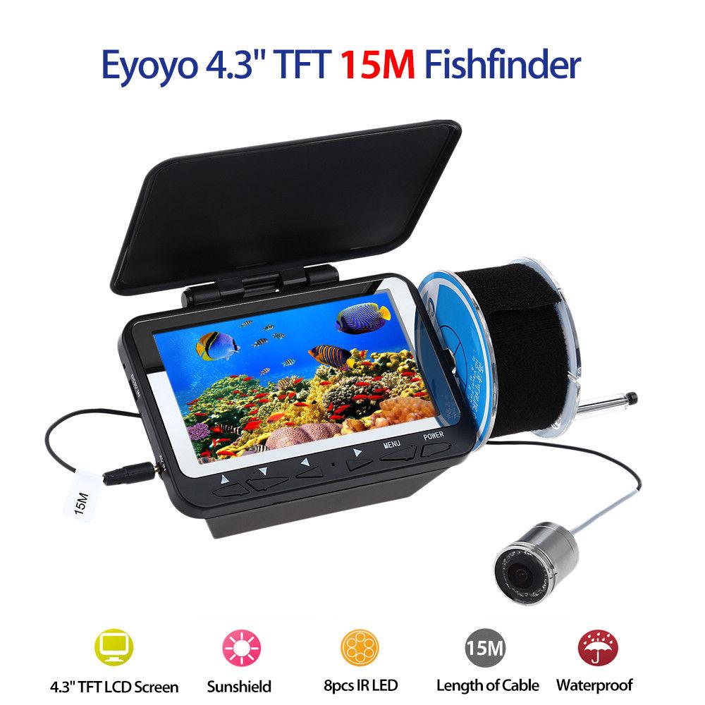 Eyoyo F06 4.3 LCD TFT Monitor 15M Fish Finder Detector Underwater Fishing Camera Night Vision Waterproof 8PCS IR Infrared LEDS eyoyo 1000tvl ice fishing underwater camera 15m 4 3 inch lcd monitor 8 led night vision camera fish finder