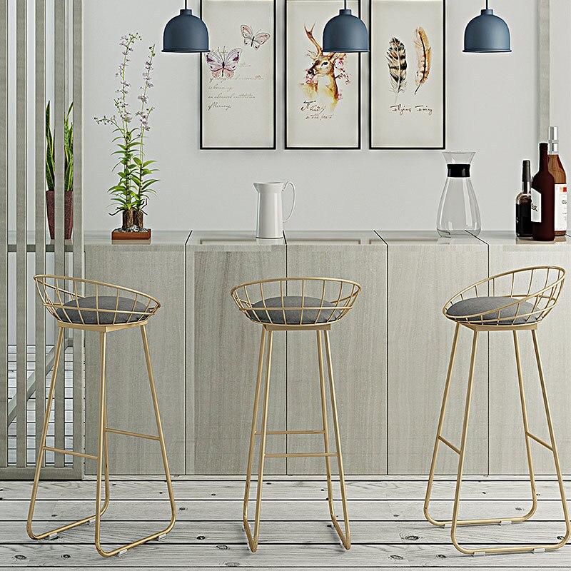 Semplice Sgabello da Bar in Ferro Battuto Bar Sedia Sgabello da Bar Tabouret De Barra di Oro di Alta Sgabello Moderna Sedia da Pranzo Nordic D'oro mobili - 3