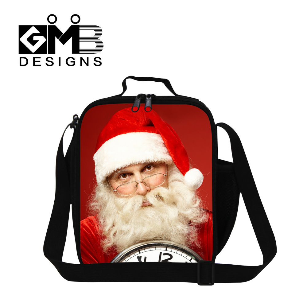 Санта печать детская сумка для обеда термо Крышка для еды сумка Детская сумка для пикника еда переноски хранения пикника Tote Bolsa Feminina - Цвет: Бежевый