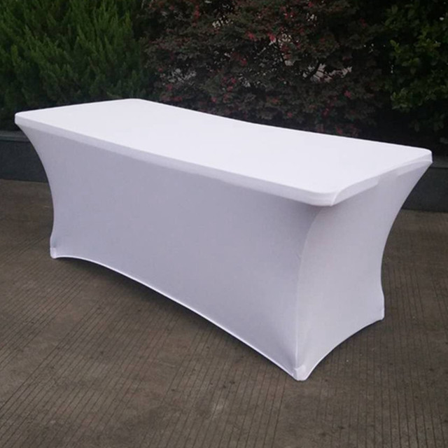 1pc Rectangular Ed Stretch Spandex Table Cover Wedding Elastic Lycra Long Bar Cloth For Hotel Event Party Decoration