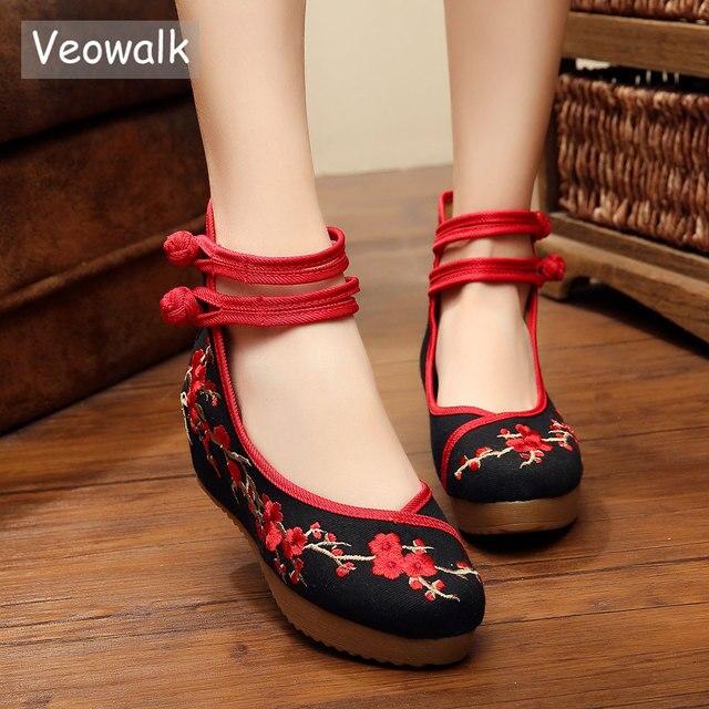 Veowalk/Новинка; женские парусиновые серые спортивные туфли в китайском стиле; женские хлопковые туфли на плоской платформе с вышитыми цветами сливы; zapatos mujer; Цвет Черный