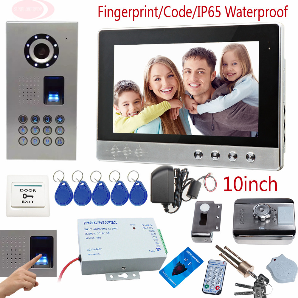 Fingerprint Door Phone 10 pollici Schermo a Colori Citofono Del Telefono Impermeabile IP65 Sicurezza Casa Rfid Serratura Codice di Sblocco della tastiera Della Macchina Fotografica