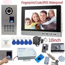 Fingerprint Door Phone 10inch Color Screen Interphone Phone Waterproof IP65 House Security Lock Rfid Unlock Code