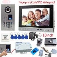 Fingerprint Door Phone 10inch Color Screen Interphone Phone Waterproof IP65 House Security Lock Rfid Unlock Code keypad Camera