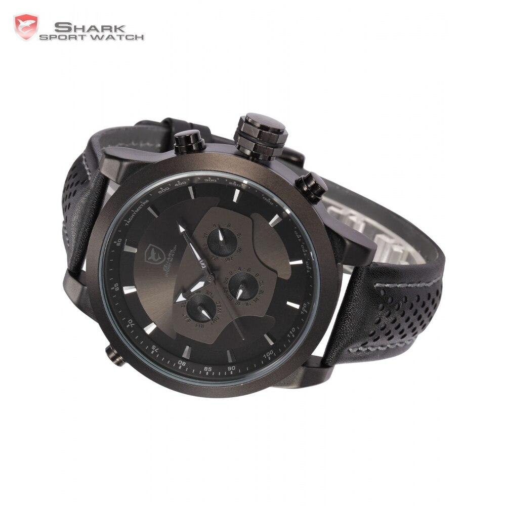 Requiem requin Sport montre 6 mains calendrier double fuseau horaire noir tableau de bord bande en cuir 3ATM étanche hommes horloge militaire/SH210 - 4