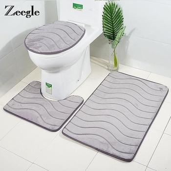 3D Embossed Bathroom Bath Mat Set Toilet Carpet Rug Flannel Non-Slip Toilet Rug Bathroom Shower Room Rug Floor Mats