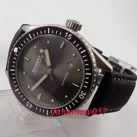 Debert 43 мм черный циферблат светящиеся керамический Безель сапфировое стекло Miyota 821A Автоматическая Мужские часы DE35