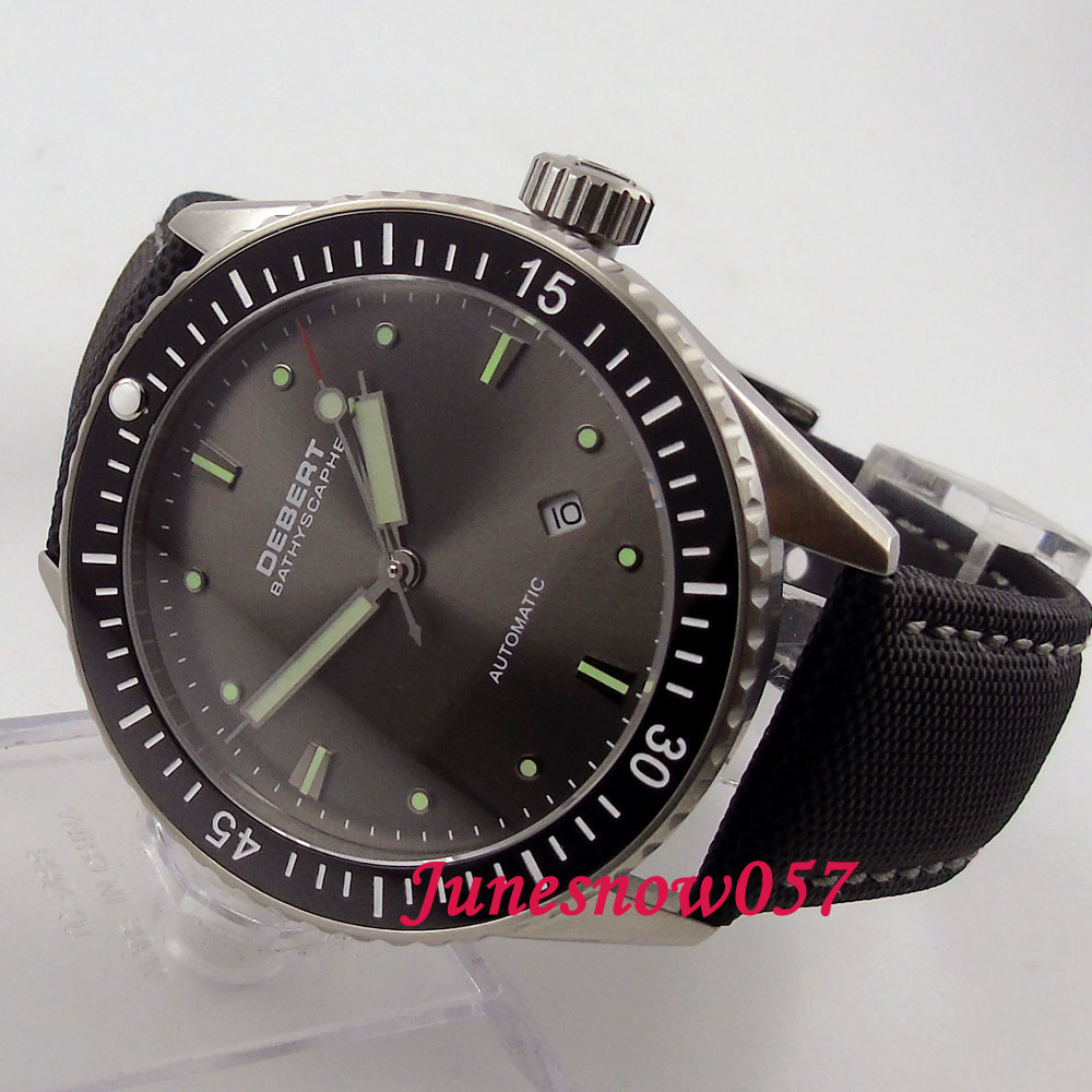 Debert 43mm black dial luminous ceramic bezel sapphire glass MIYOTA 821A Automatic men's watch DE35 43mm debert balck ceramic dial bezel sapphire miyota 821a automatic mens watch