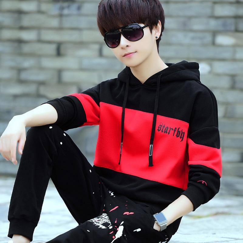 Color contrast loose fit hoodies students hooded sweatshirt men outerwear 2019 autumn winter plus size M - XXXL