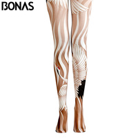 BONAS Gold Flamingos Pantyhose Women Print Tights Female High Waist Cotton Legins Meias 2018 Trendy Animal