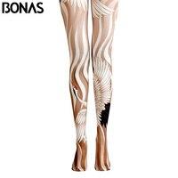 BONAS Gold Flamingos Pantyhose Women Print Tights Female High Waist Cotton Legins Meias 2018 Trendy Animal