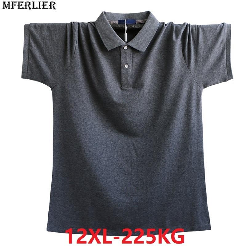 MFERLIER plus size big large size 8XL men shirt short sleevet 8XL 9XL 10XL 11XL 12XL 54 56 summer cotton blue Shirt loose green