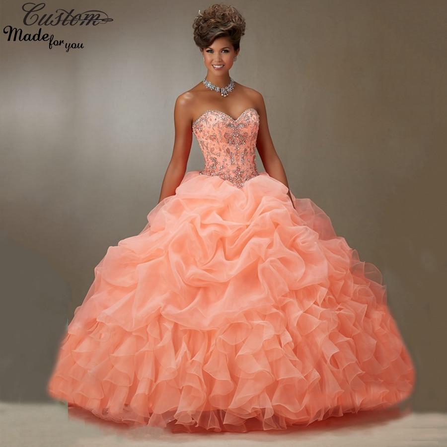 vestidos de 15 anos ball gown sweetheart ruffle organza
