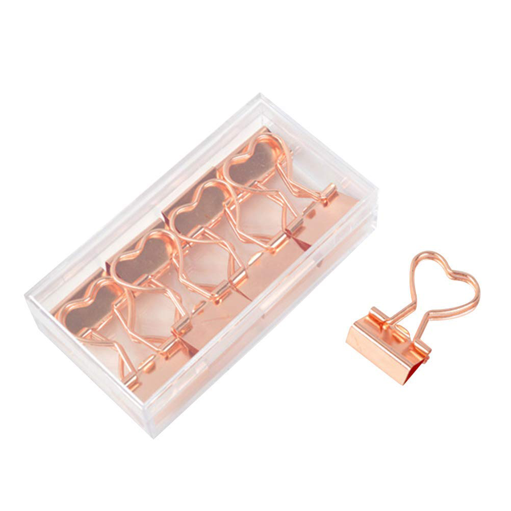 12PCS Heart Shape Binder Clips Skeleton Alloy Paper Clips Foldback File Clips School Office Stationery Supplies (Rose Gold)