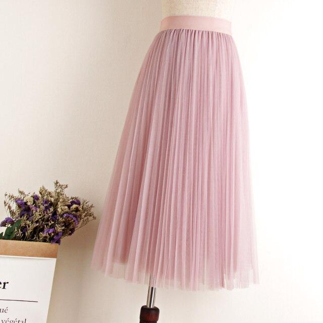 Tulle Skirts Womens Midi Pleated Skirt Black Pink Tulle Skirt Women 2019 Spring Summer Korean Elastic High Waist Mesh Tutu Skirt 6