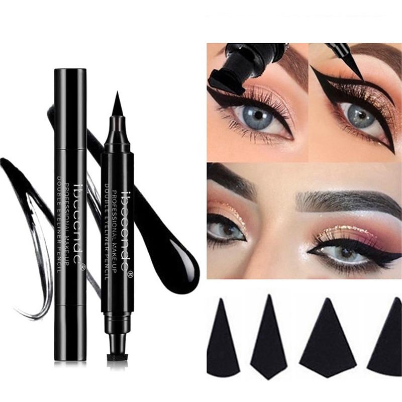 Hot 4 Styles Eyeliner Stamp Pencil Black Liquid Makeup Waterproof Long lasting Eye Liner Wing Stamps delineador-in Eyeliner from Beauty & Health