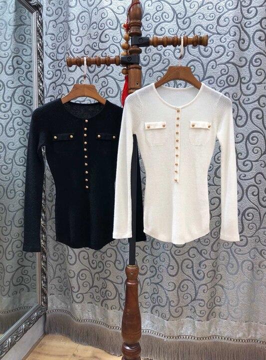 Tricot blanc Rond Couleur Noir Décorer Col Caractéristiques Qualité blanc Top Bouton D'or Solide amp; Poches Noir Pull Chandail Laine Femmes Avant xBpIz1