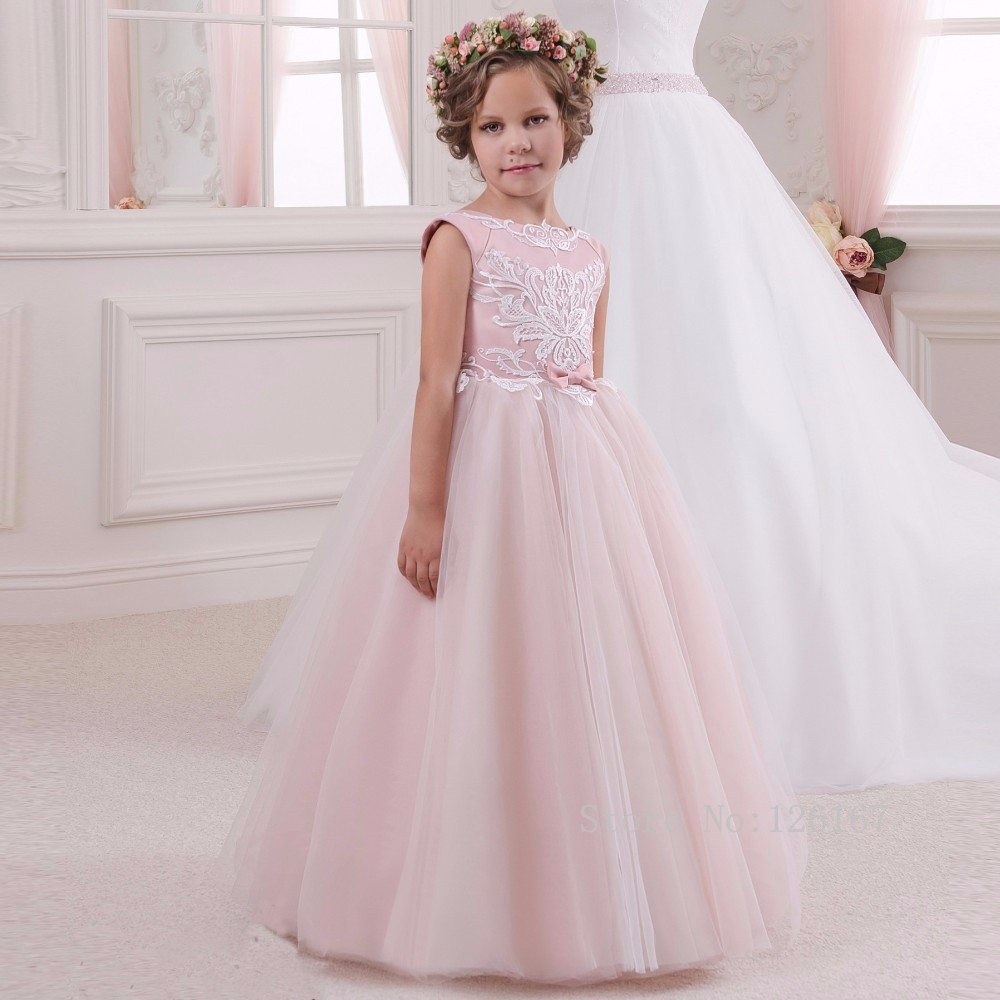 Elegant Long Pink Puffy Tulle Dress For Kids Lace Applique Pretty